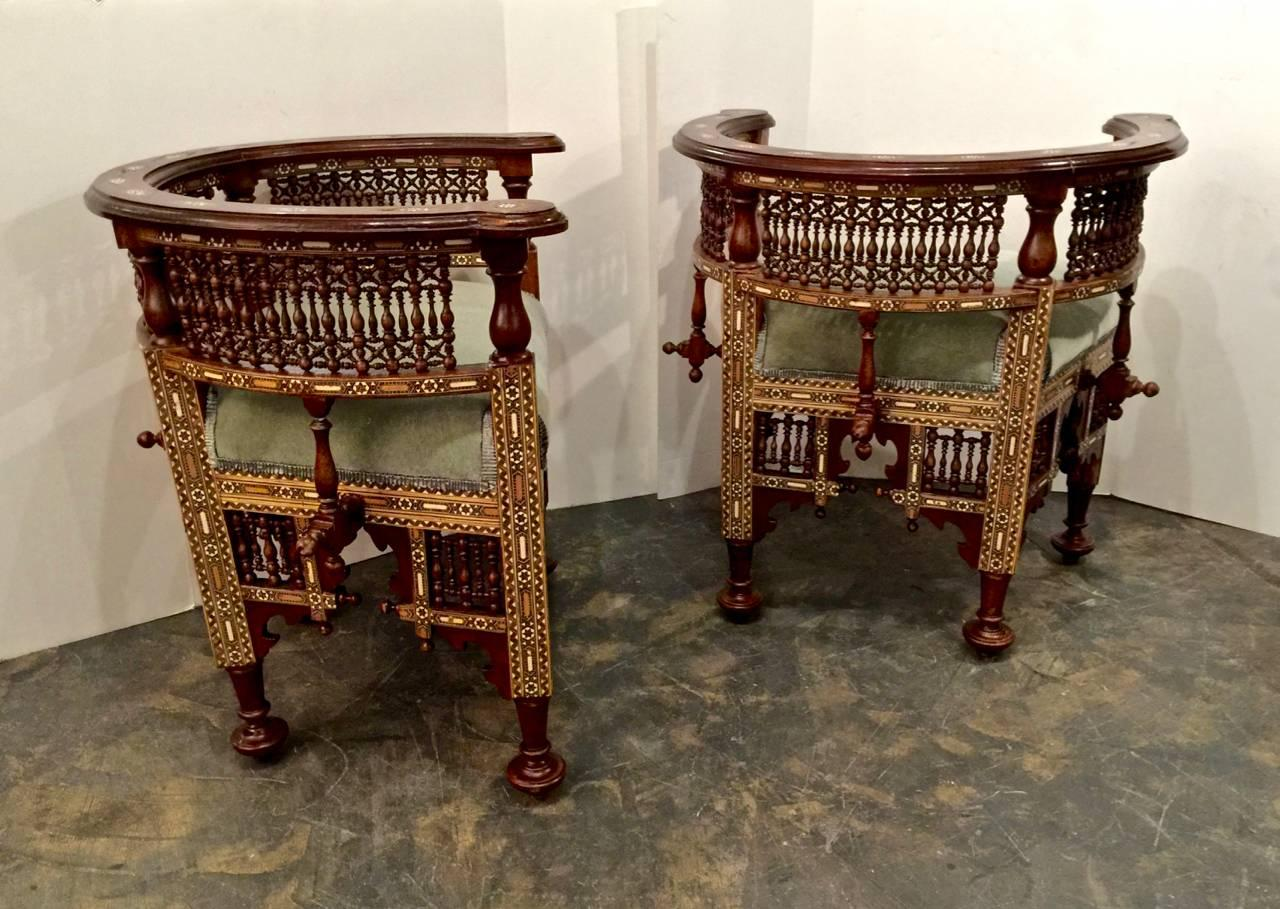 Pair Of Antique Syrian Barrel Back Inlaid Chairs At 1stdibs