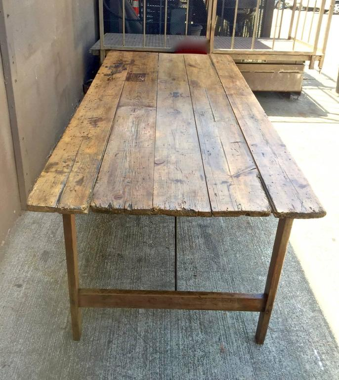 This Is A N Uncommon Form Of French Harvest Farm Table Whose Legs Are Braced With