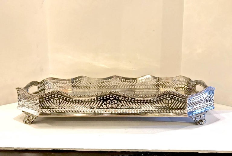Sheffield Silver Plate Large Gallery Tray For Sale 1