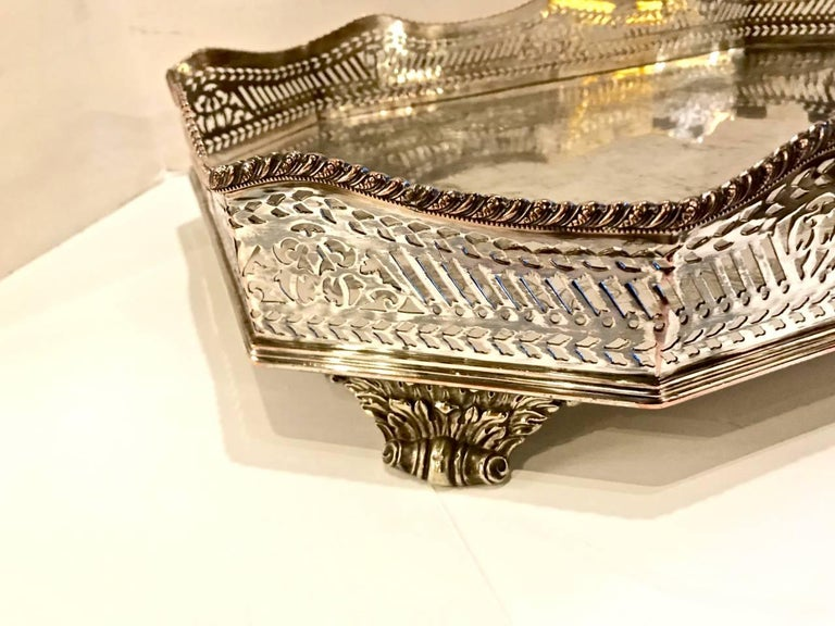 Neoclassical Sheffield Silver Plate Large Gallery Tray For Sale
