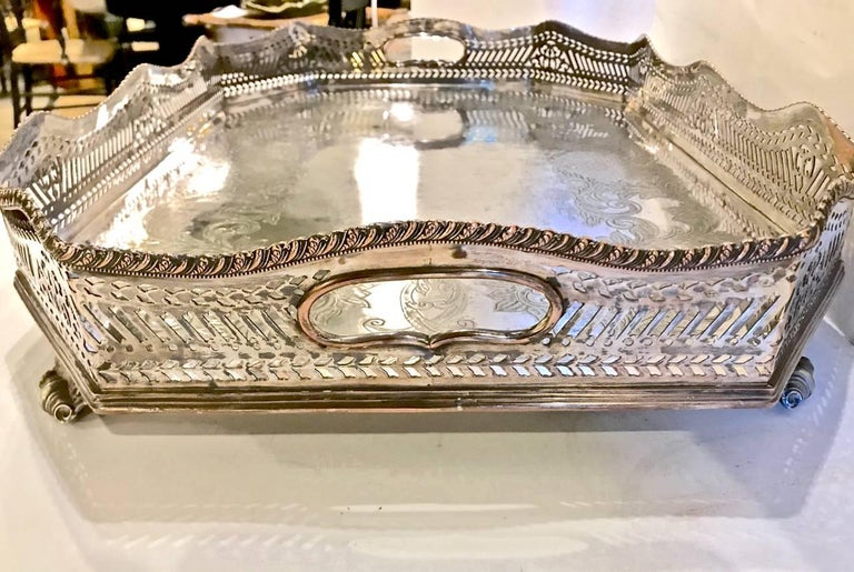 European Sheffield Silver Plate Large Gallery Tray For Sale