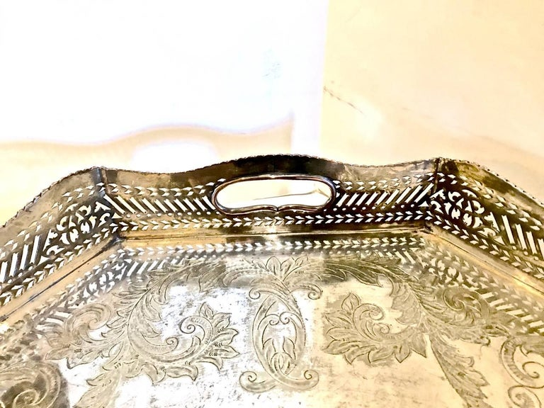 Sheffield Plate Sheffield Silver Plate Large Gallery Tray For Sale