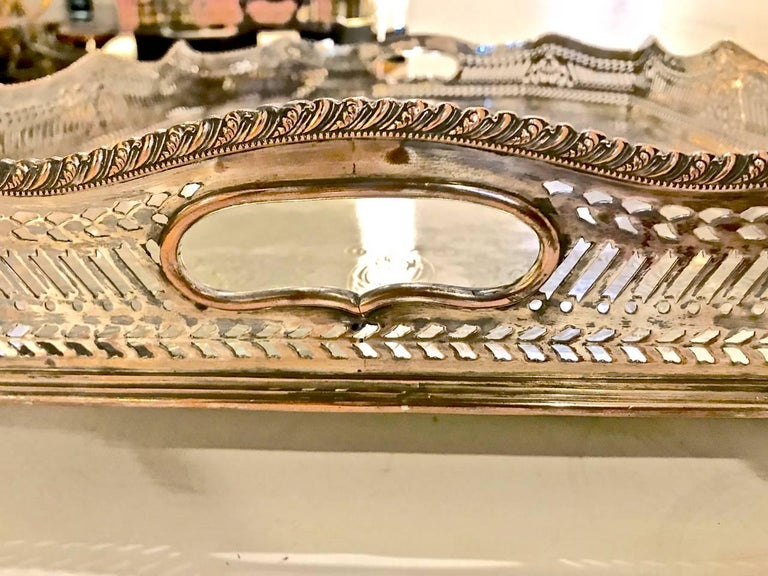 Sheffield Silver Plate Large Gallery Tray In Good Condition For Sale In Pasadena, CA