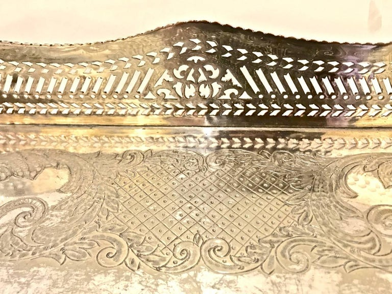 19th Century Sheffield Silver Plate Large Gallery Tray For Sale