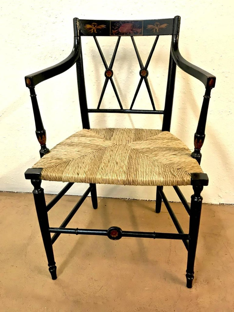 19th Century Regency Painted Arm Chairs, Set of Four For Sale