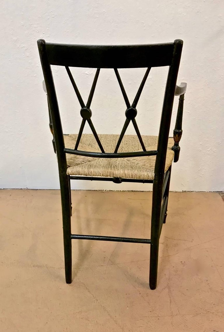 Wood Regency Painted Arm Chairs, Set of Four For Sale