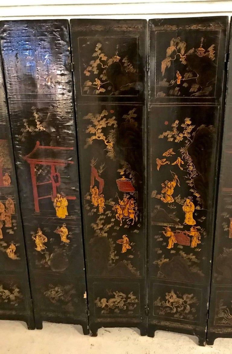 18th Century Chinese Lacquer Screen, Ten Panels In Good Condition For Sale In Pasadena, CA
