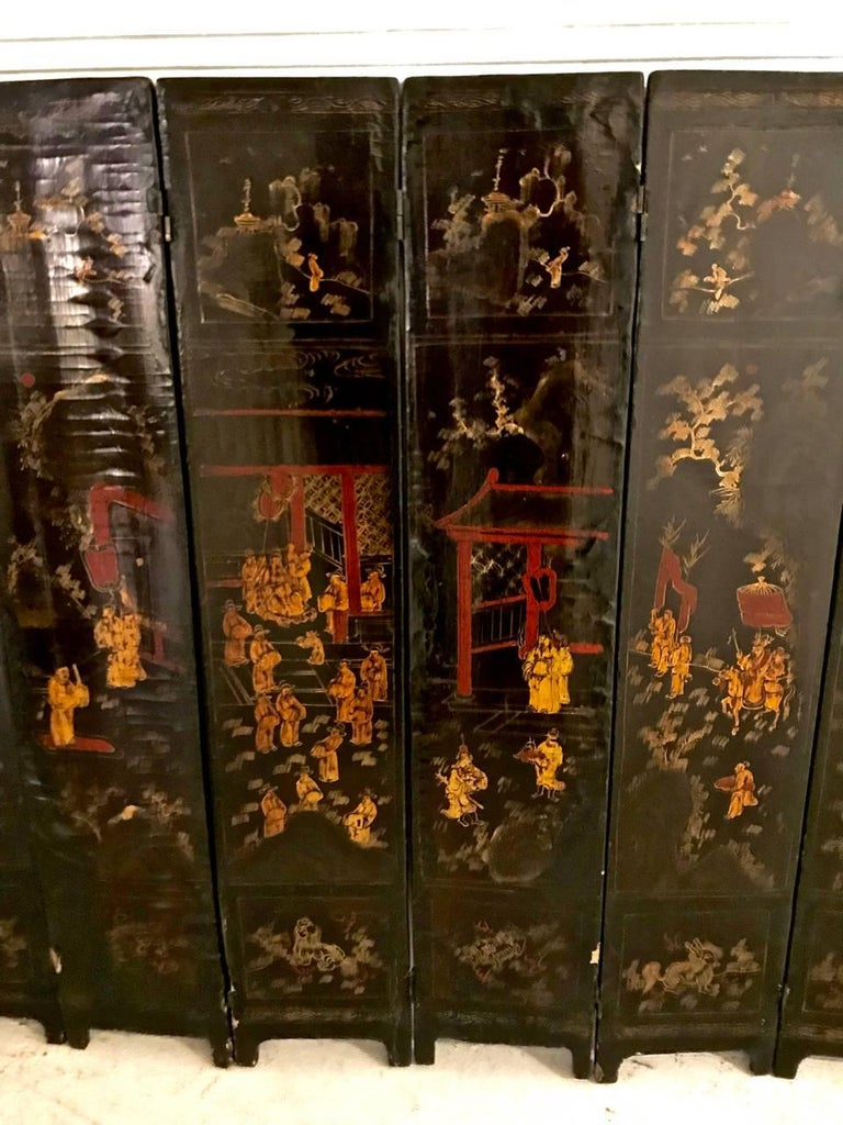 18th Century and Earlier 18th Century Chinese Lacquer Screen, Ten Panels For Sale