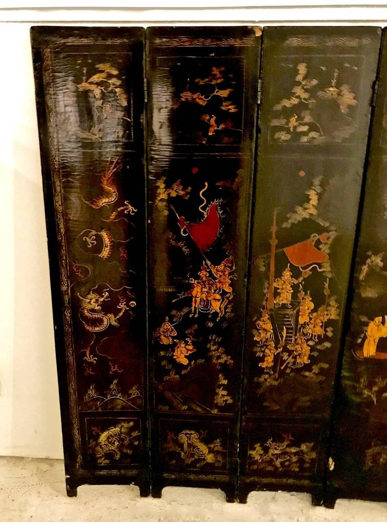 18th Century Chinese Lacquer Screen, Ten Panels For Sale 1