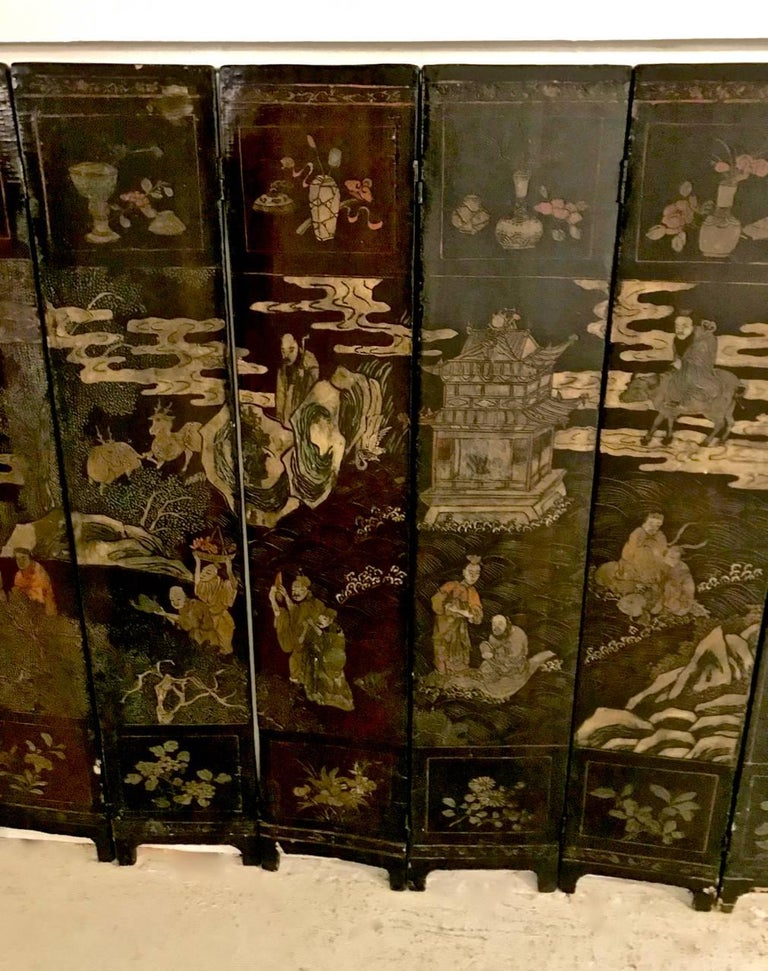 18th Century Chinese Lacquer Screen, Ten Panels For Sale 3