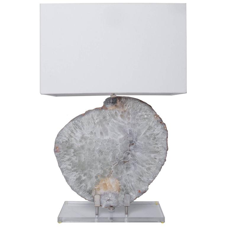 Brazilian White Agate Table Lamp With Acrylic Base And White Linen Shade 1