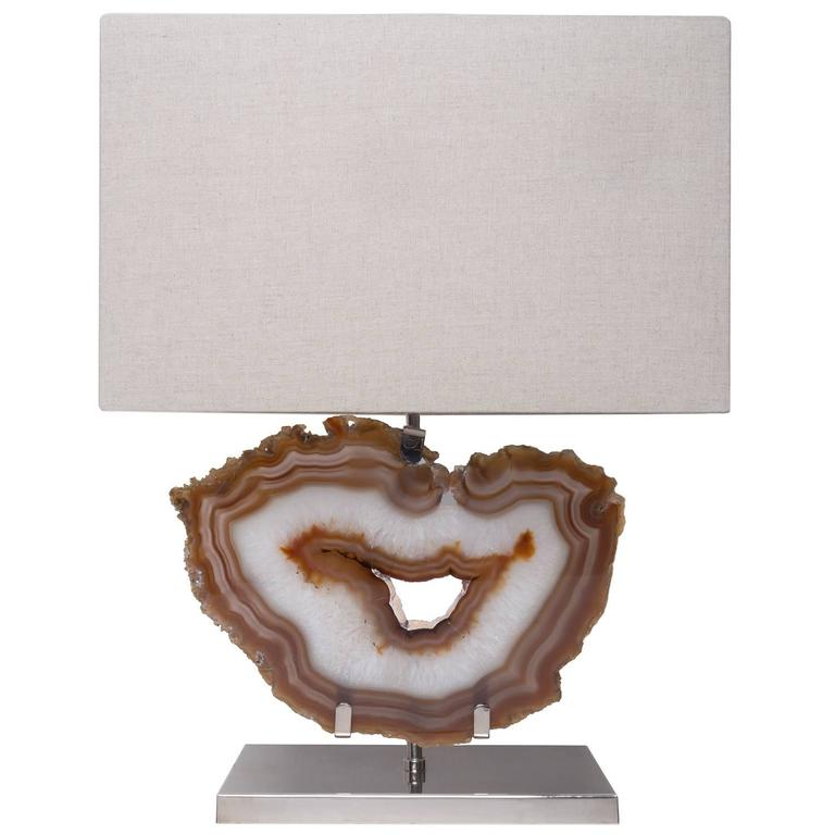 White And Brown Agate Lamp, Brass With Nickel Finish Base, Beige Linen  Shade For