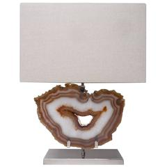 White and Brown Agate Lamp, Brass with Nickel Finish Base, Beige Linen Shade