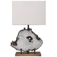 Table Lamp in Brazilian White Agate, Brass Brushed Base with White Linen Shade