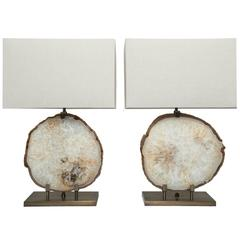 Pair of Brazilian Beige Agate Table Lamps, Brushed Brass Base, Beige Linen Shade