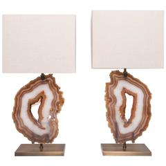 Pair of Brazilian Agate Table Lamps, Brushed Brass Base with Beige Linen Shade