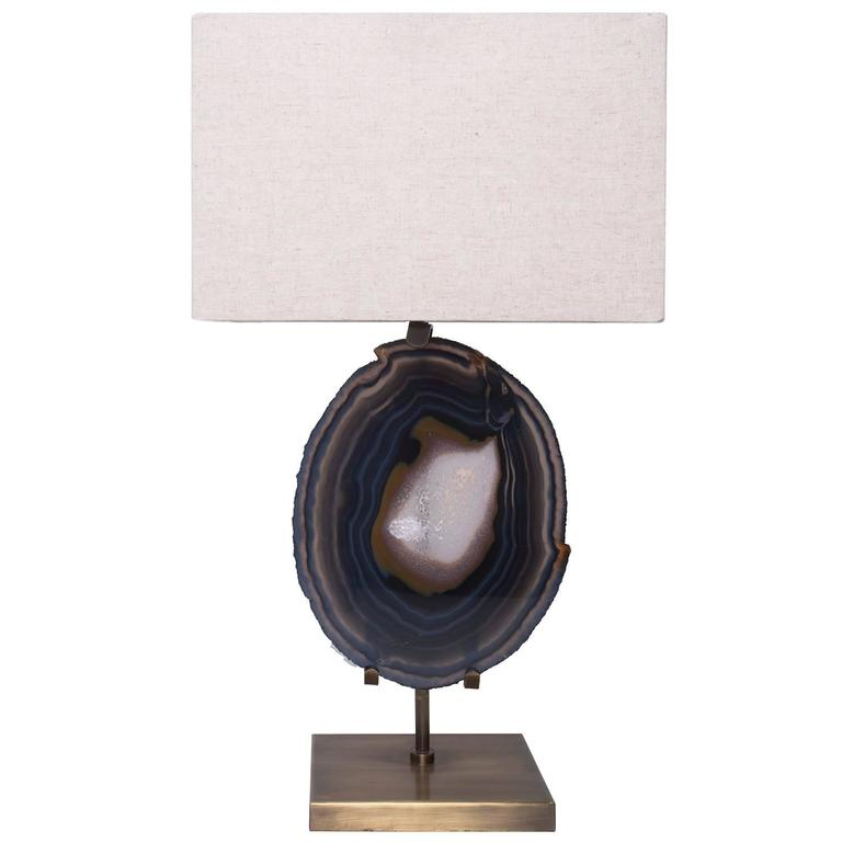 Table Lamp in Brazilian Agate, Brushed Brass Base with Beige Linen Shade