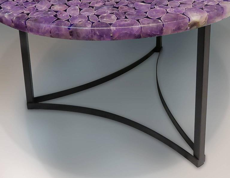 Madagascar Amethyst Gemstone Round Centre Table, Metal Black Powder Coated Base 3