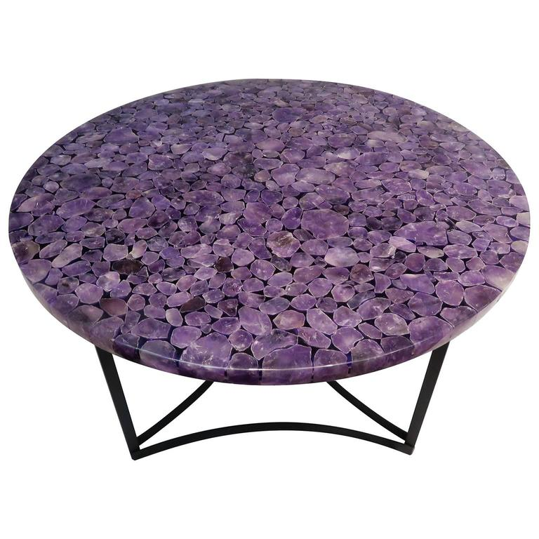 Madagascar Amethyst Gemstone Round Centre Table, Metal Black Powder Coated Base 1