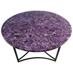Round Center Table, Madagascar Amethyst Gemstone, Metal Black Powder Coated Base