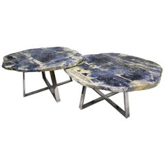 Pair of Brazilian Sodalite Natural Form Center Tables, Metal Plated Base