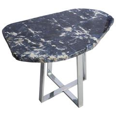 Side Table Brazilian Sodalite Natural Form Slab with Metal Plated Base