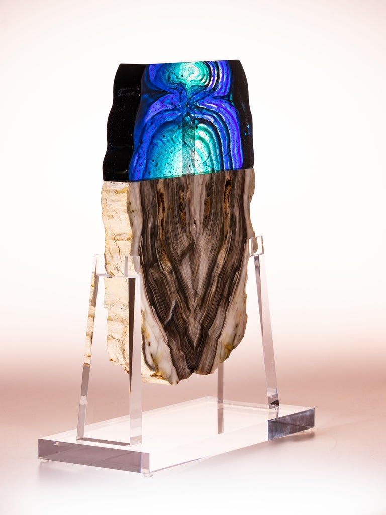 Mexican Petrified Wood and Glass Sculpture For Sale