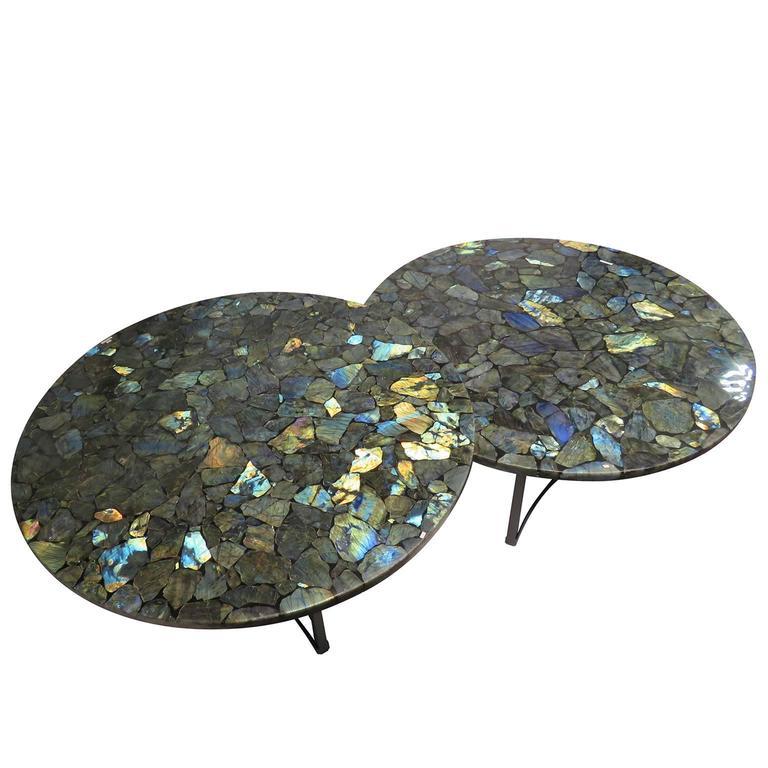 Pair of Labradorite Gemstone Center Tables with Metal Black Powder Coated Base