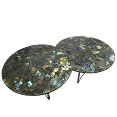 Pair of Labradorite Gemstone Center Tables with Metal Black Powder Coated Base