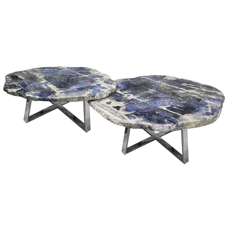 Pair of Center Tables of Brazilian Sodalite Natural Form, Metal-Plated Base For Sale