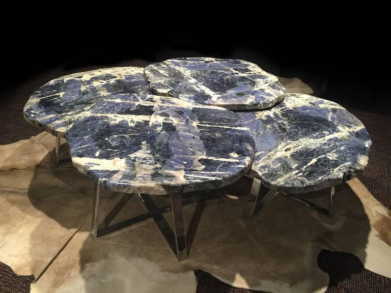 Mexican Pair of Center Tables of Brazilian Sodalite Natural Form, Metal-Plated Base For Sale