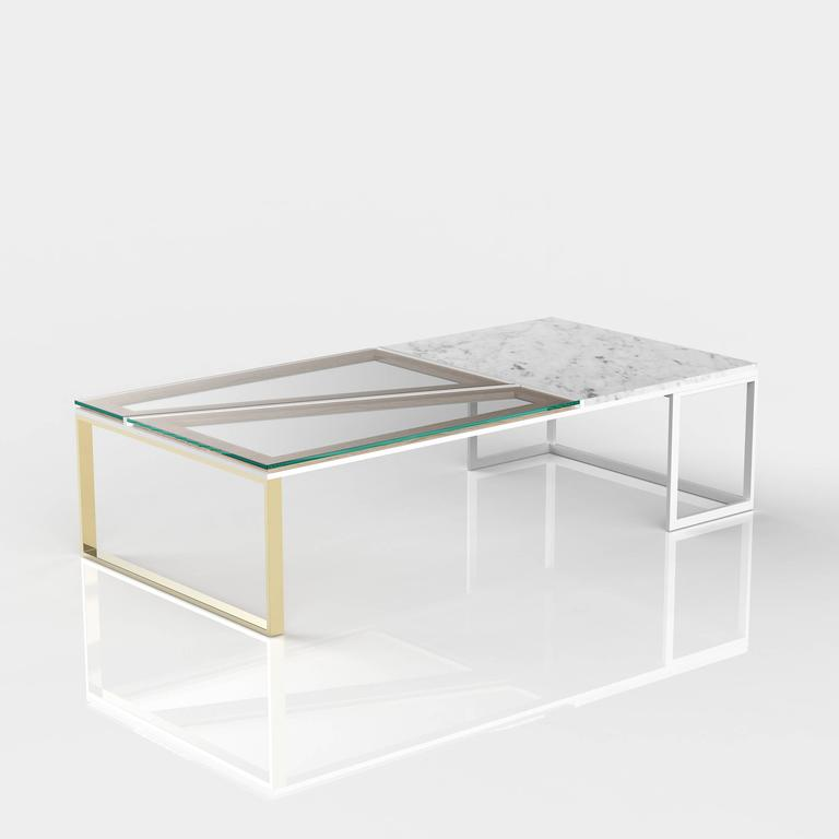 Hialeah Coffee Table Large Rectangle Clear Glass And Marble For Sale At 1stdibs