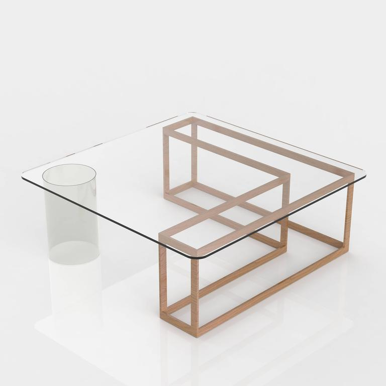 Square Glass And Oak Coffee Table: Nunki Coffee Table, Square, Oak Base And Clear Glass For