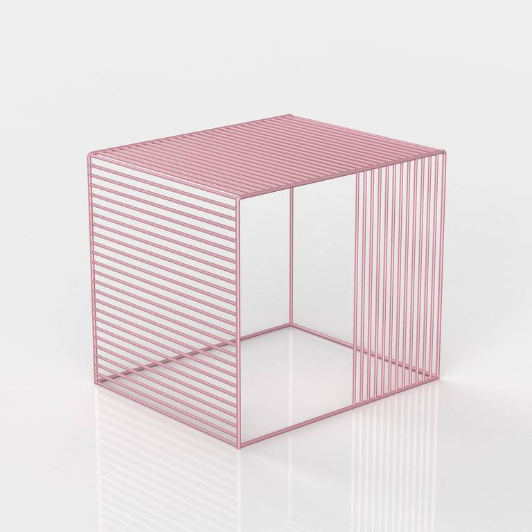 American Wire Side Table, Powder Coated For Sale