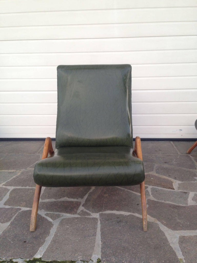 Vintage Stunning Armchair Or Chaise Longue In Style Of Carlo Mollino Guglielmo Ulrich Antonino