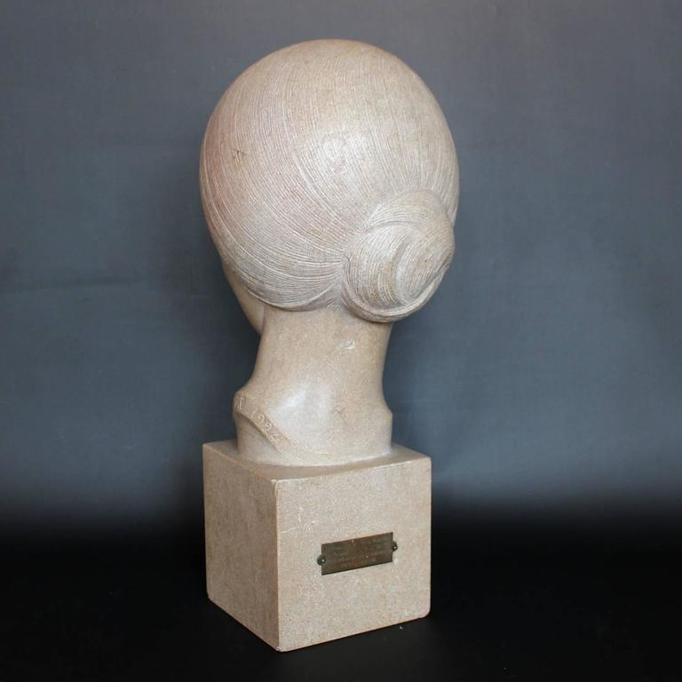 Hand-Carved Art Deco Stone Bust For Sale