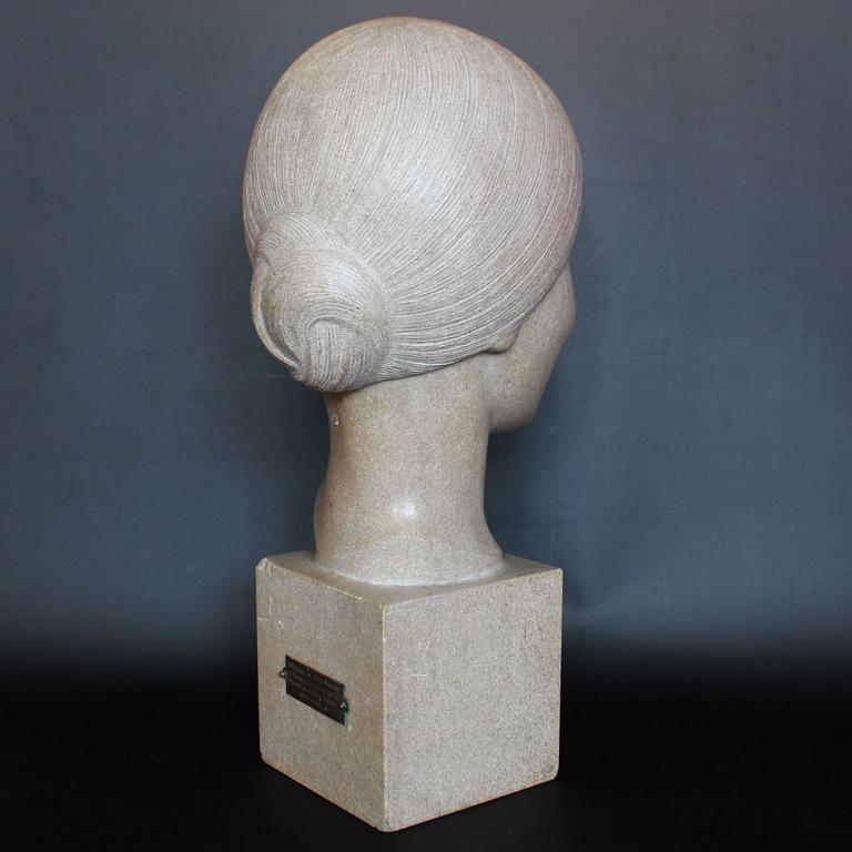 French Art Deco Stone Bust For Sale