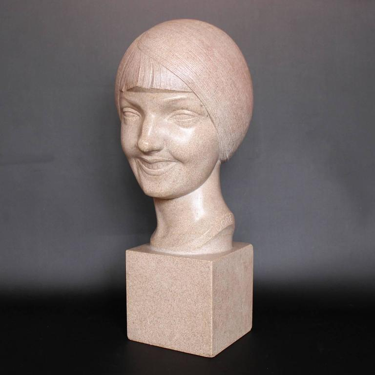 Art Deco Stone Bust In Excellent Condition For Sale In Forest Row, East Sussex