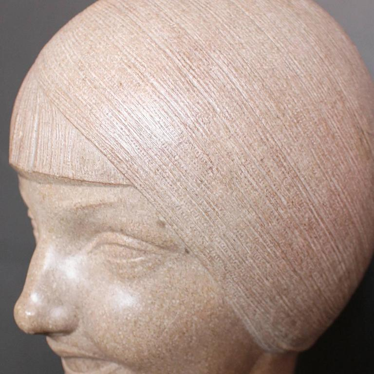20th Century Art Deco Stone Bust For Sale