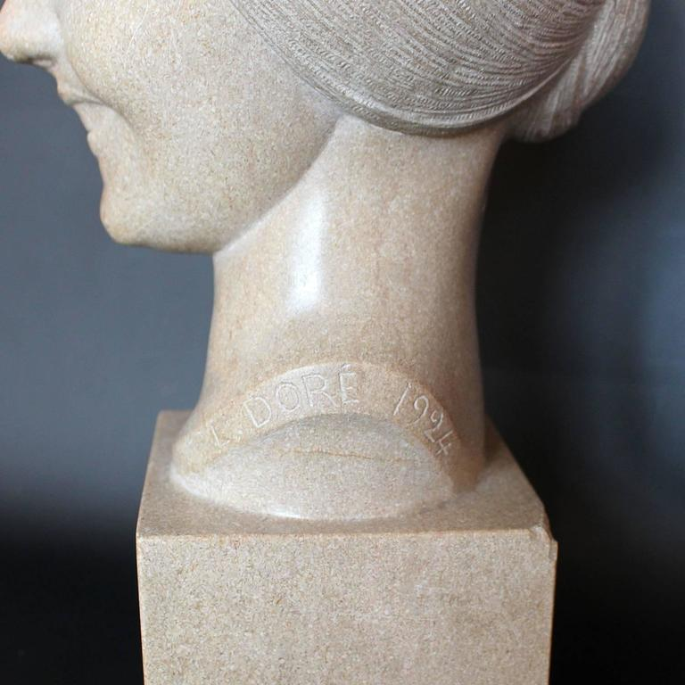Art Deco Stone Bust For Sale 2