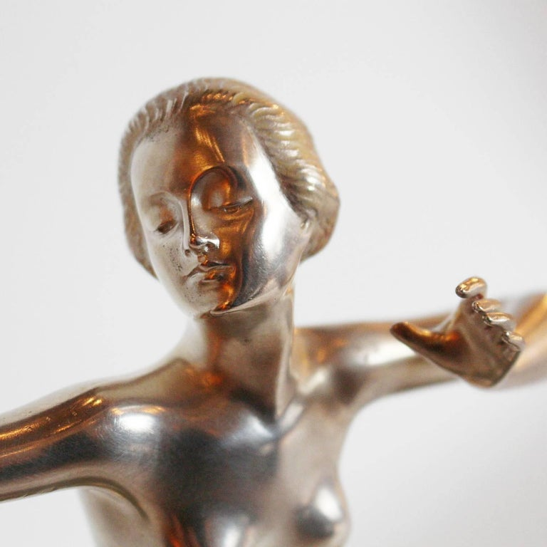 Art Deco Silvered Bronze Dancer For Sale 2