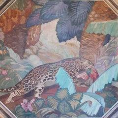 Jaguar an Art Deco Painting by Puig