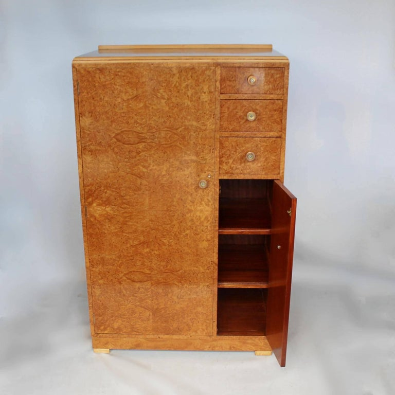 Amboyna Art Deco Cabinet For Sale