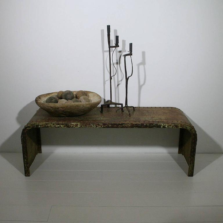 French Industrial Coffee Table: French Industrial Riveted Steel Coffee Table At 1stdibs