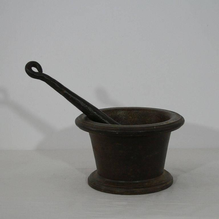 18th Century and Earlier 18th Century French Cast Iron Mortar For Sale