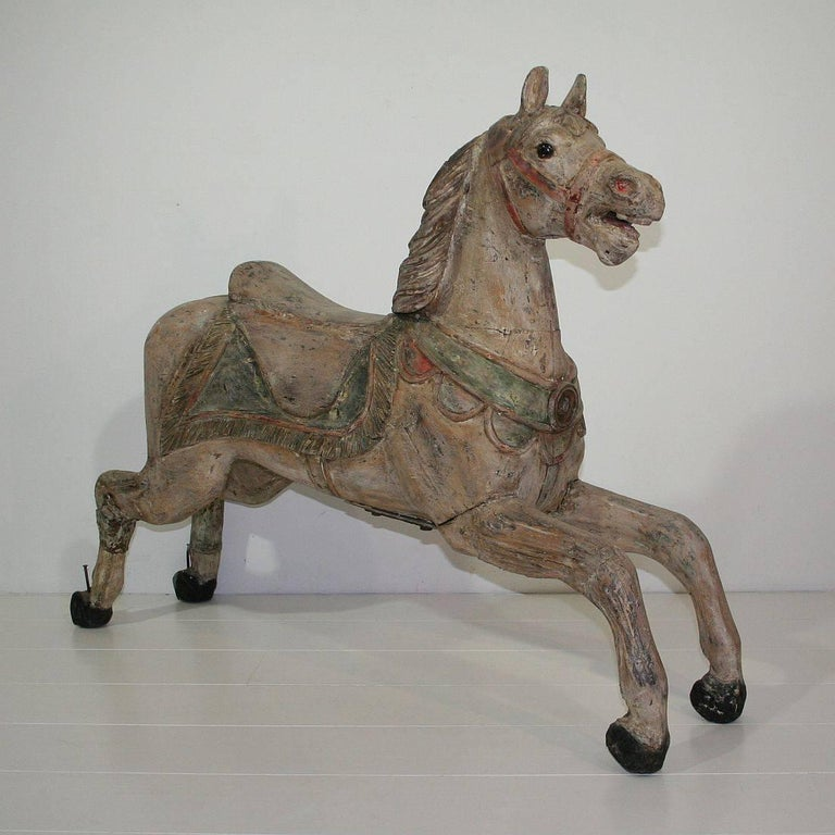 Late 19th Century French Carved Wood Carousel Horse At 1stdibs