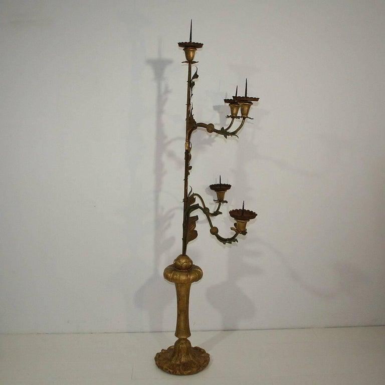 Gilt Large Italian 18th Century Gilded Iron Baroque Candleholder or Candelabra For Sale