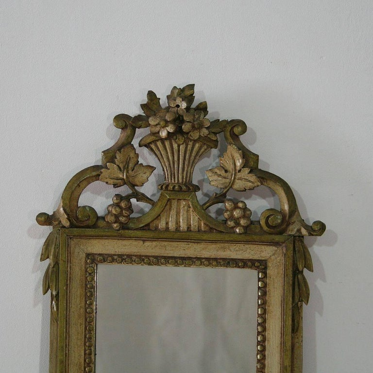 Painted Small 19th Century French Louis XVI Style Mirror For Sale