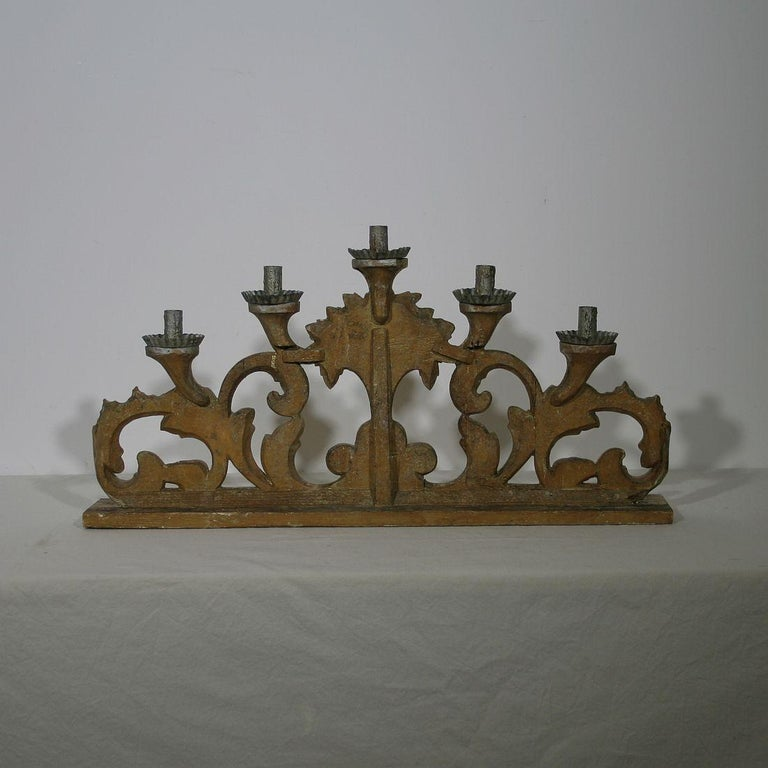 Wood Late 18th Century Italian Carved Giltwood Baroque Candleholder For Sale