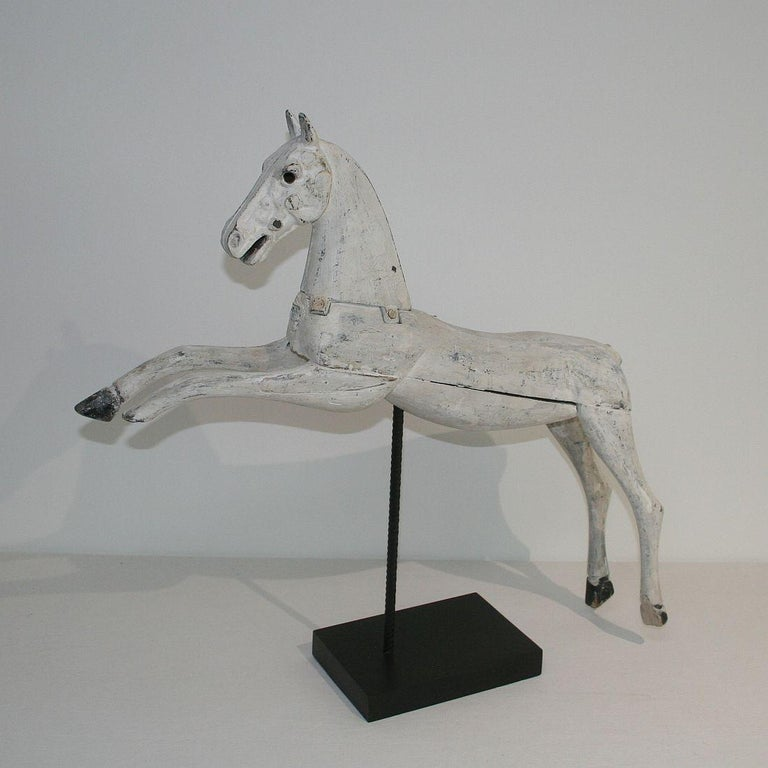 19th Century French Wooden Horse with Cast Iron Head In Fair Condition For Sale In Amsterdam, NL